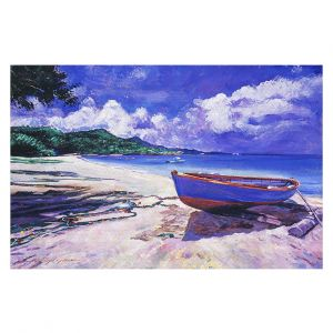 Decorative Floor Covering Mats | David Lloyd Glover - Blue Boat Fish Nets | coast beach ocean forest