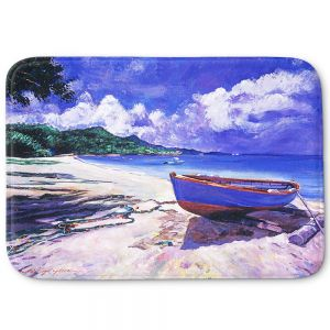 Decorative Bathroom Mats | David Lloyd Glover - Blue Boat Fish Nets | coast beach ocean forest
