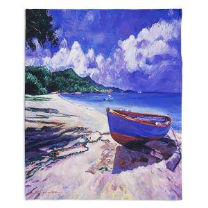 Decorative Fleece Throw Blankets | David Lloyd Glover - Blue Boat Fish Nets | coast beach ocean forest