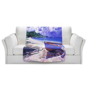 Artistic Sherpa Pile Blankets   David Lloyd Glover - Blue Boat Fish Nets   coast beach ocean forest
