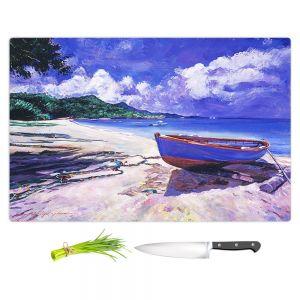 Artistic Kitchen Bar Cutting Boards | David Lloyd Glover - Blue Boat Fish Nets | coast beach ocean forest