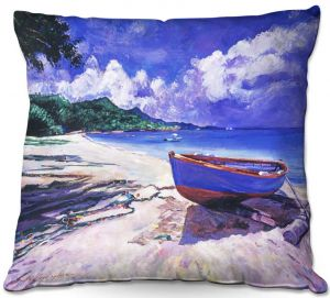 Decorative Outdoor Patio Pillow Cushion | David Lloyd Glover - Blue Boat Fish Nets | coast beach ocean forest
