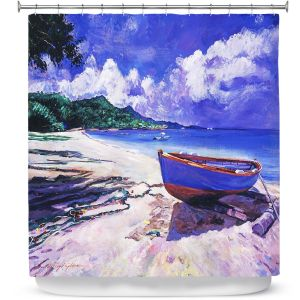 Premium Shower Curtains | David Lloyd Glover - Blue Boat Fish Nets | coast beach ocean forest