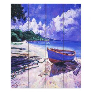Decorative Wood Plank Wall Art | David Lloyd Glover - Blue Boat Fish Nets | coast beach ocean forest