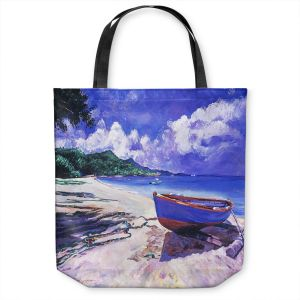 Unique Shoulder Bag Tote Bags | David Lloyd Glover - Blue Boat Fish Nets | coast beach ocean forest