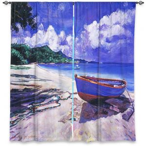 Decorative Window Treatments | David Lloyd Glover - Blue Boat Fish Nets | coast beach ocean forest