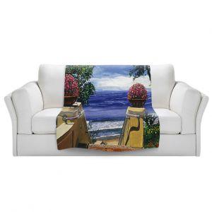Artistic Sherpa Pile Blankets   David Lloyd Glover - Blue Pacific Ocean   coast ocean beach patio