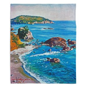 Decorative Fleece Throw Blankets | David Lloyd Glover - California Coast | coast landscape ocean island