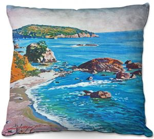 Unique Outdoor Pillow 16X16 from DiaNoche Designs by David Lloyd Glover - California Coast