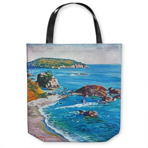 Unique Shoulder Bag Tote Bags | David Lloyd Glover - California Coast | coast landscape ocean island