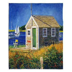 Decorative Fleece Throw Blankets | David Lloyd Glover - Cape Cod Boat House | shack boats bay sea ocean harbor