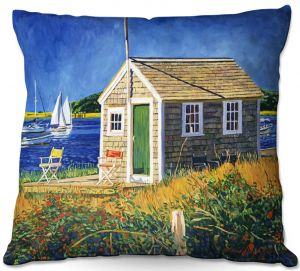 Throw Pillows Decorative Artistic | David Lloyd Glover - Cape Cod Boat House | shack boats bay sea ocean harbor