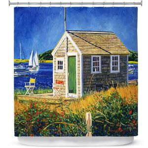 Premium Shower Curtains | David Lloyd Glover - Cape Cod Boat House | shack boats bay sea ocean harbor