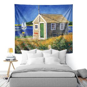 Artistic Wall Tapestry | David Lloyd Glover - Cape Cod Boat House | shack boats bay sea ocean harbor
