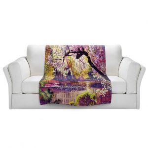 Unique Blanket Fleece Medium from DiaNoche Designs by David Lloyd Glover - Central Park Spring Pond