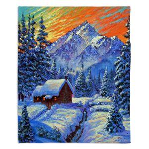Decorative Fleece Throw Blankets | David Lloyd Glover - Christmas Japan | Japan Mountain Cabin