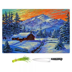 Artistic Kitchen Bar Cutting Boards | David Lloyd Glover - Christmas Japan | Japan Mountain Cabin