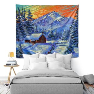 Artistic Wall Tapestry | David Lloyd Glover - Christmas Japan | Japan Mountain Cabin