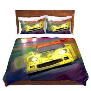 Unique Duvet Microfiber Queen Set from DiaNoche Designs by David Lloyd Glover - Corvette Thunder LeMans Racecar