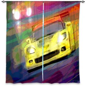 Unique Window Curtain Lined 40w x 61h from DiaNoche Designs by David Lloyd Glover - Corvette Thunder LeMans Racecar