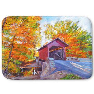 Decorative Bathroom Mats | David Lloyd Glover - Covered Bridge | road landscape path