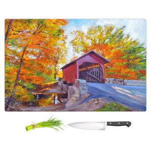 Artistic Kitchen Bar Cutting Boards | David Lloyd Glover - Covered Bridge | road landscape path