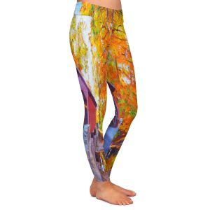 Casual Comfortable Leggings | David Lloyd Glover - Covered Bridge | road landscape path