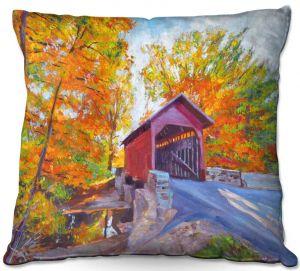 Decorative Outdoor Patio Pillow Cushion   David Lloyd Glover - Covered Bridge   road landscape path