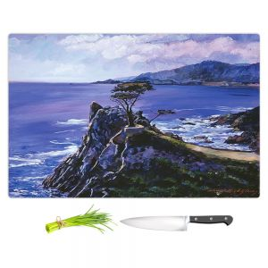 Artistic Kitchen Bar Cutting Boards | David Lloyd Glover - Cypress Point Monterey | coast landscape ocean water