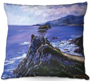 Decorative Outdoor Patio Pillow Cushion   David Lloyd Glover - Cypress Point Monterey   coast landscape ocean water