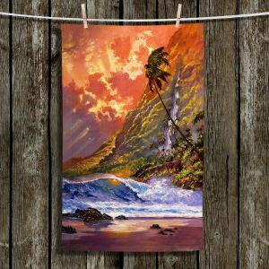 Unique Hanging Tea Towels | David Lloyd Glover - Dawn in Oahu | Beach Ocean Mountain Waterfall Tropical Hawaii