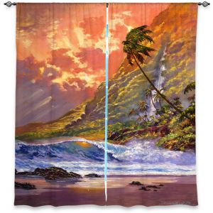 Unique Window Curtain Unlined 80w x 52h from DiaNoche Designs by David Lloyd Glover - Dawn in Oahu