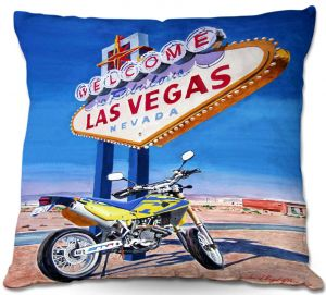 Decorative Outdoor Patio Pillow Cushion | David Lloyd Glover - Easy Rider Las Vegas