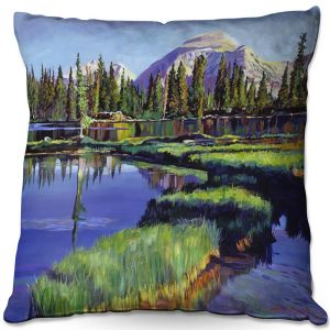 Decorative Outdoor Patio Pillow Cushion | David Lloyd Glover - Fishermans Lake Reflections | landscape mountain nature