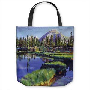 Unique Shoulder Bag Tote Bags | David Lloyd Glover - Fishermans Lake Reflections | landscape mountain nature