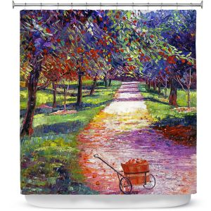 Unique Shower Curtain from DiaNoche Designs by David Lloyd Glover - French Apple Orchards