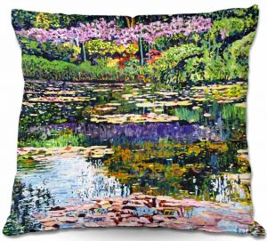 Unique Throw Pillows from DiaNoche Designs by David Lloyd Glover - Giverny Reflections   16X16