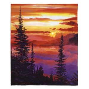 Artistic Sherpa Pile Blankets | David Lloyd Glover - Golden Moment | landscape mountain nature