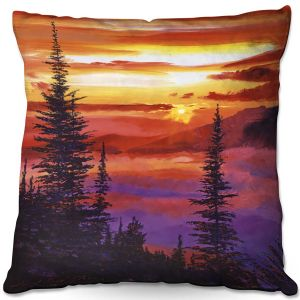 Decorative Outdoor Patio Pillow Cushion | David Lloyd Glover - Golden Moment | landscape mountain nature