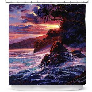 Premium Shower Curtains | David Lloyd Glover - Hawaiian Sunset | island coast beach
