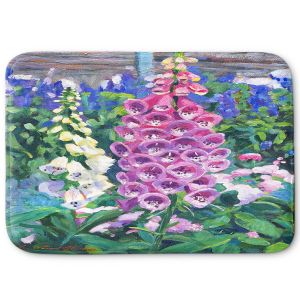 Decorative Bathroom Mats | David Lloyd Glover - Hollyhocks | nature flower garden