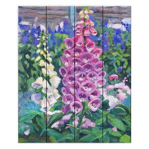 Decorative Wood Plank Wall Art | David Lloyd Glover - Hollyhocks | nature flower garden