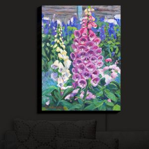 Nightlight Sconce Canvas Light | David Lloyd Glover - Hollyhocks | nature flower garden