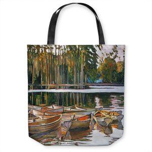 Unique Shoulder Bag Tote Bags | David Lloyd Glover - Lake Boats Paris | bay pond lake forest
