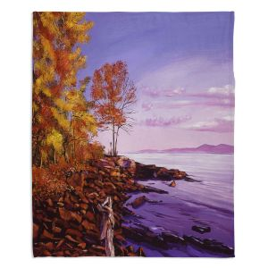 Decorative Fleece Throw Blankets | David Lloyd Glover - Lake Shore Evening | coast lake rocks forest