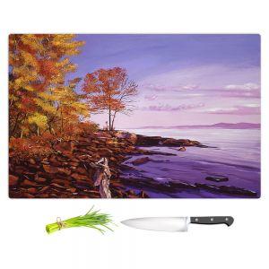 Artistic Kitchen Bar Cutting Boards   David Lloyd Glover - Lake Shore Evening   coast lake rocks forest