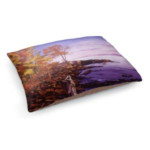 Decorative Dog Pet Beds | David Lloyd Glover - Lake Shore Evening | coast lake rocks forest