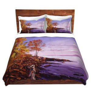 Artistic Duvet Covers and Shams Bedding | David Lloyd Glover - Lake Shore Evening | coast lake rocks forest