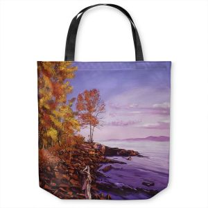 Unique Shoulder Bag Tote Bags | David Lloyd Glover - Lake Shore Evening | coast lake rocks forest