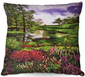 Throw Pillows Decorative Artistic | David Lloyd Glover - Lakeside Garden | pond lake landscape nature spring